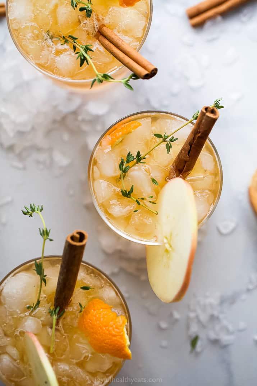 overhead photo of harvest apple bourbon cocktail