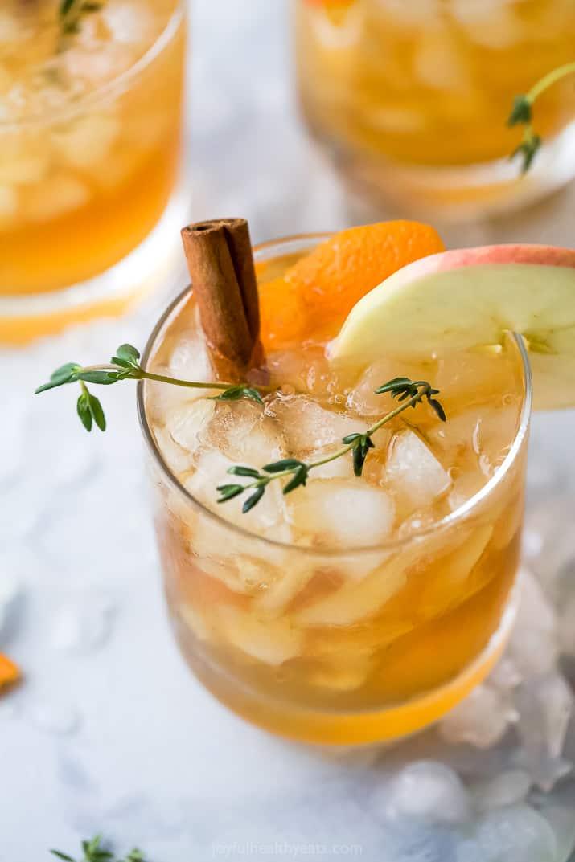 closeup of harvest apple bourbon cocktail