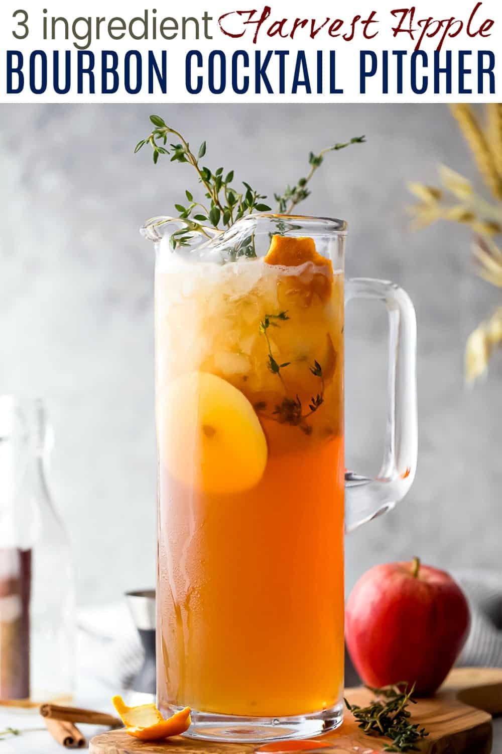 pinterest image for harvest apple bourbon cocktail