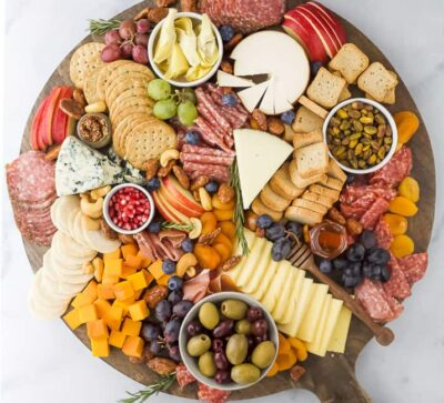 overhead photo of an epic holiday cheese board