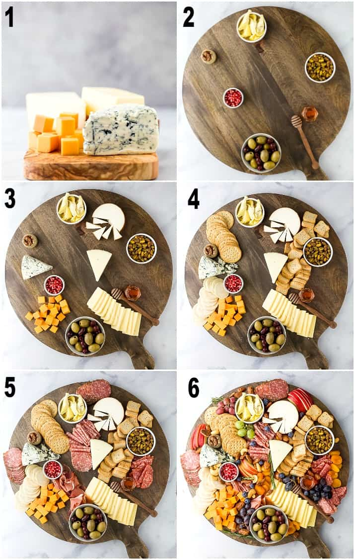 step by step photos of how to make an epic holiday cheese board