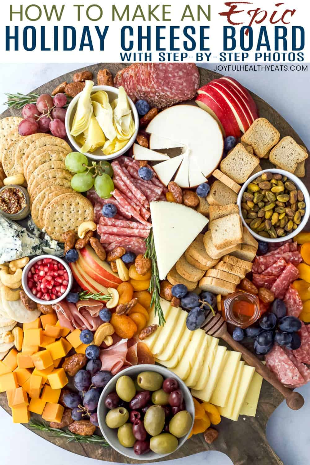 pinterest image for how to make an epic holiday cheese board