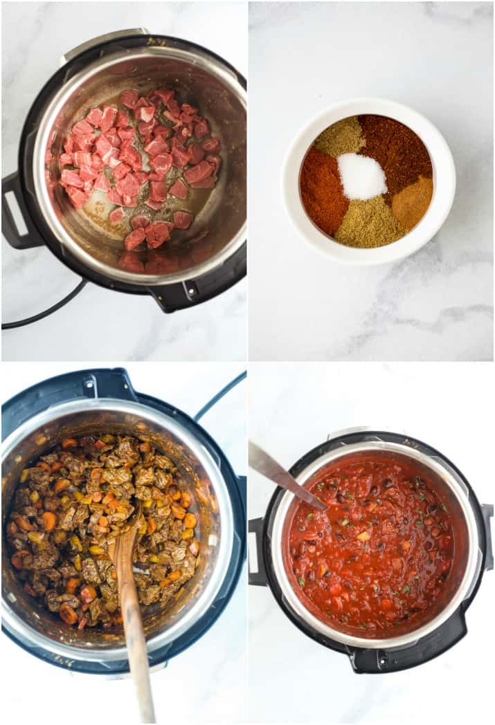 photos of how to make chili in the instant pot