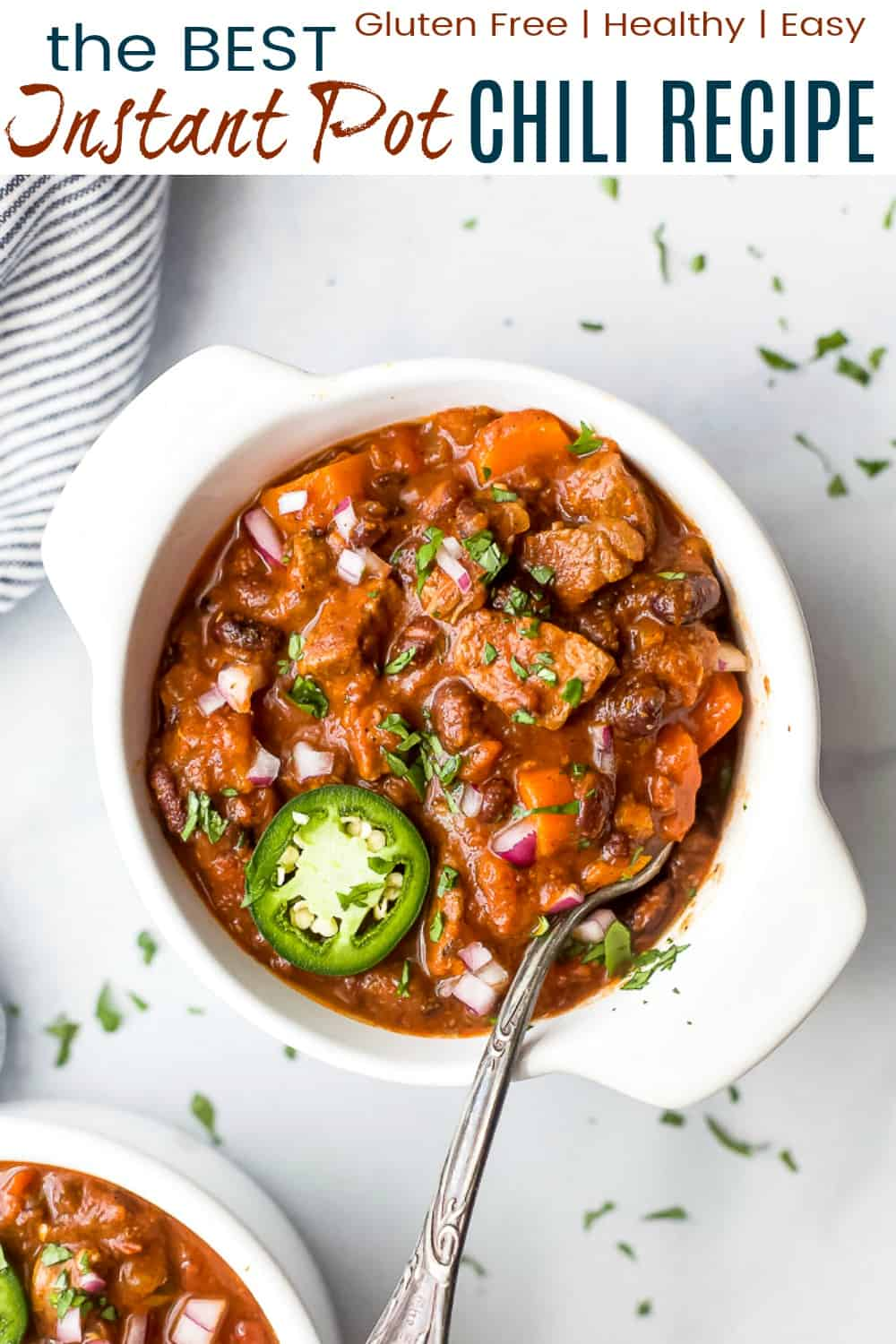 pinterest image for the best instant pot chili recipe