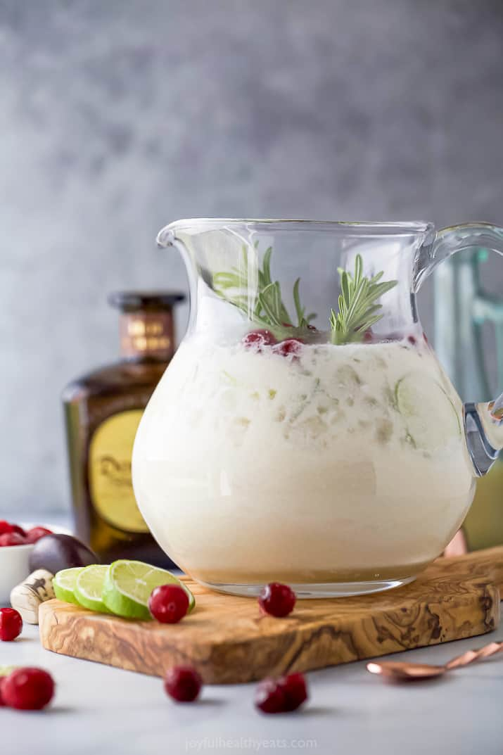 white christmas margarita recipe in a pitcher
