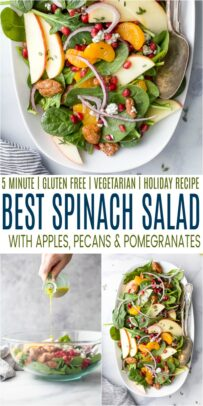 pinterest image for the best spinach salad with apple pecans and gorgonzola cheese