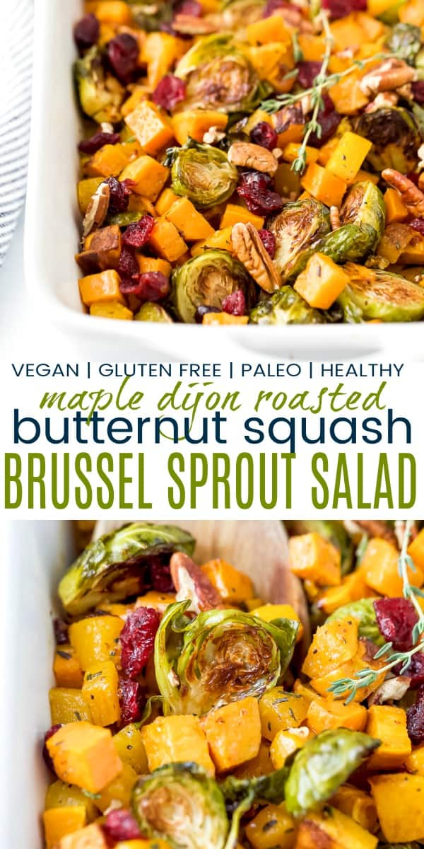 pinterest image for maple dijon roasted butternut squash brussel sprout salad