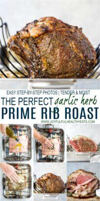 pinterest image for perfect garlic herb prime rib roast recipe