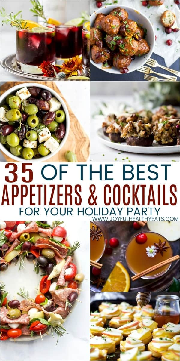 pinterest image for the best 35 appetizers and cocktails for your holiday party