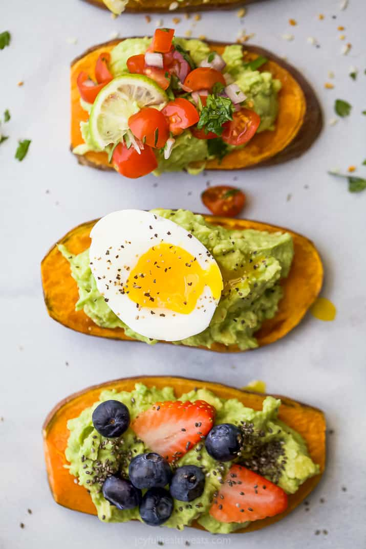 overhead photos of easy healthy avocado toast recipes