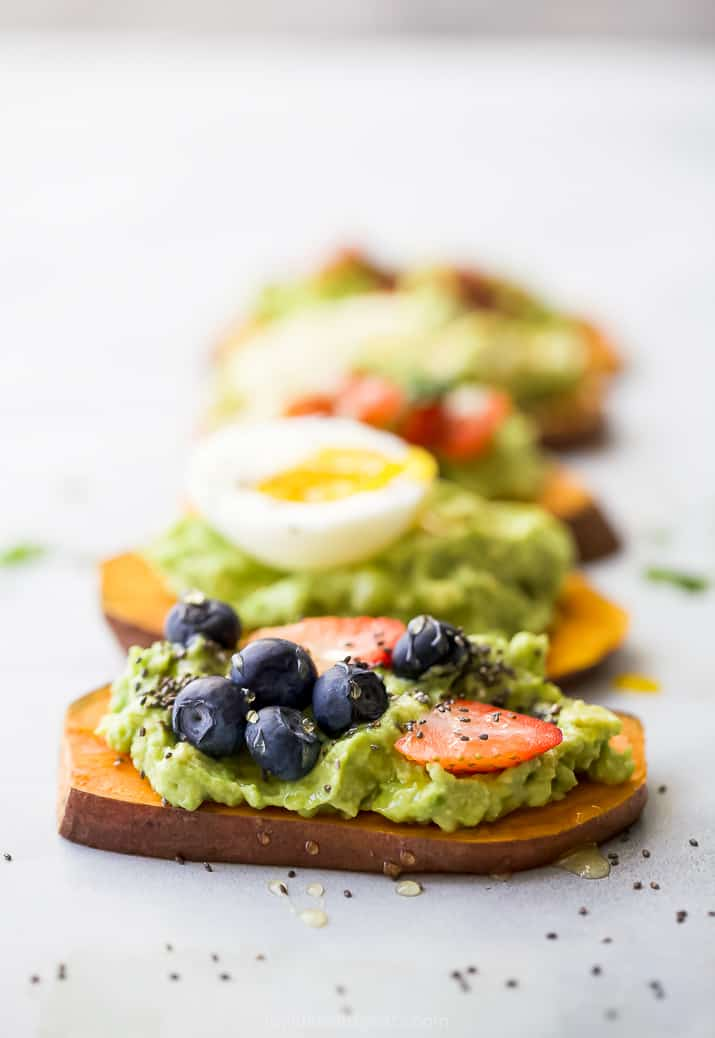 side photo of fruity avocado toast recipe