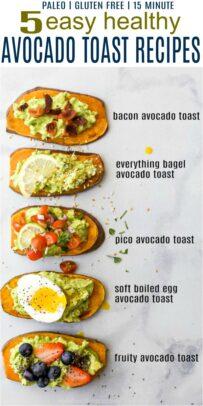 pinterest image for 5 easy healthy avocado toast recipes