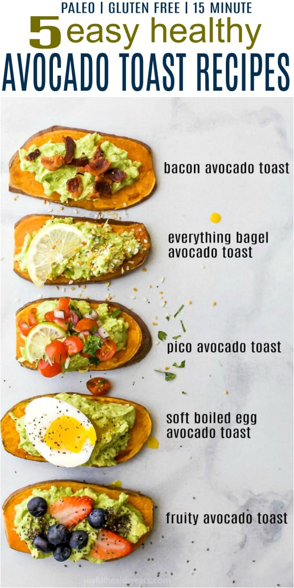 pinterest image for 5 easy healthy avocado toast recipes