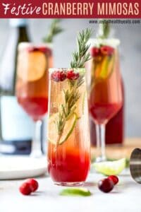 pinterest image for easy festive cranberry mimosas