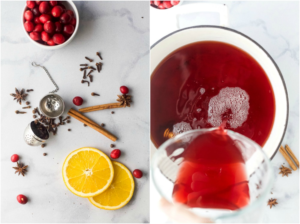 how to make festive spiked cranberry mulled apple cider