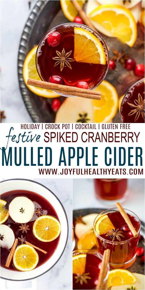 pinterest image for festive spiked cranberry mulled apple cider
