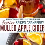 pinterest image for festive hot spiked cranberry mulled apple cider