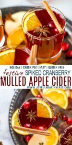 pinterest image for festive hot spiked cranberry mulled apple cider