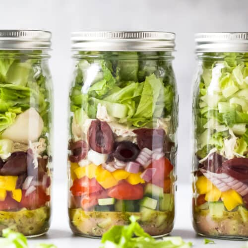 quick easy greek chicken mason jar salad recipe