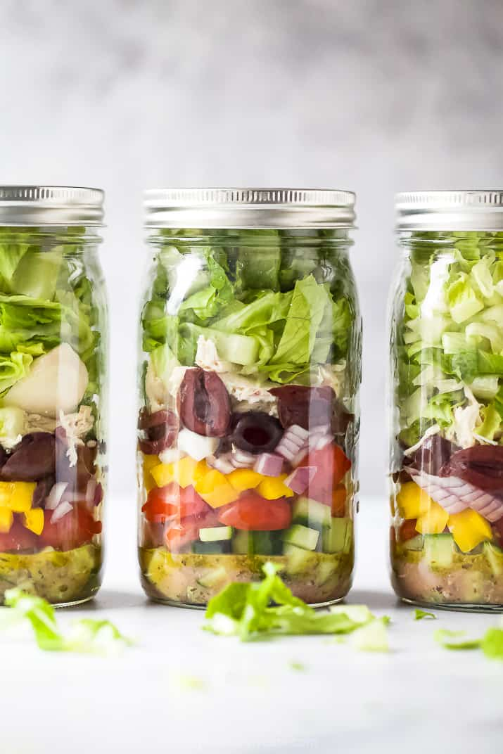 quick easy greek chicken mason jar salad recipe