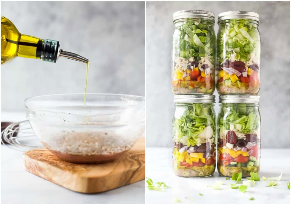 how to make quick and easy greek chicken salad in a mason jar