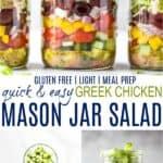 pinterest image for greek chicken salad in a mason jar