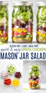pinterest image for greek chicken salad in a mason jar