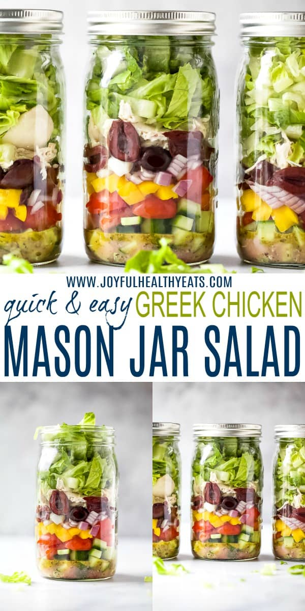 pinterest image for quick and easy greek chicken mason jar salad recipe