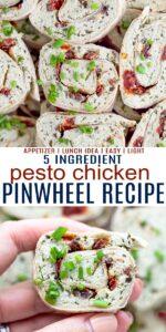 pinterest image for the best pesto chicken pinwheel recipe