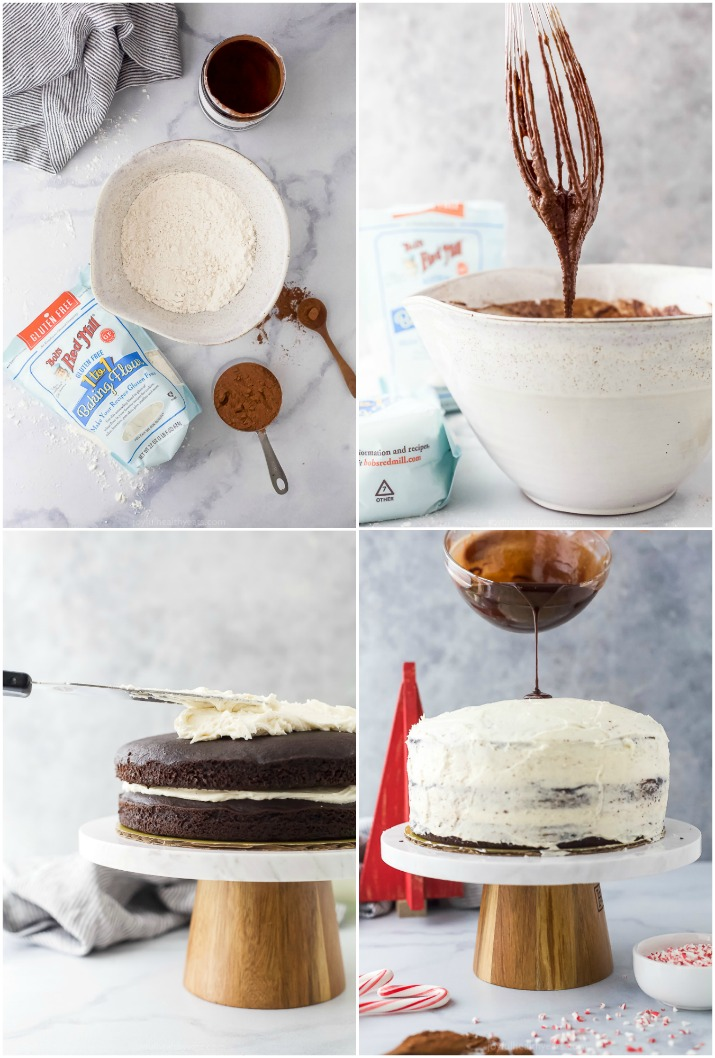 process of how to make vegan chocolate cake with peppermint buttercream