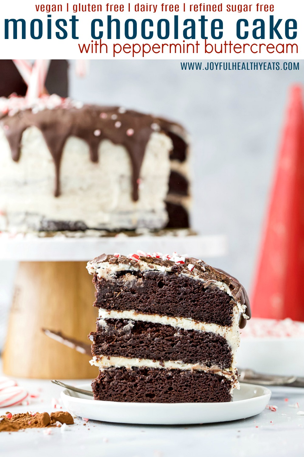 pinteres image for vegan chocolate cake with peppermint buttercream