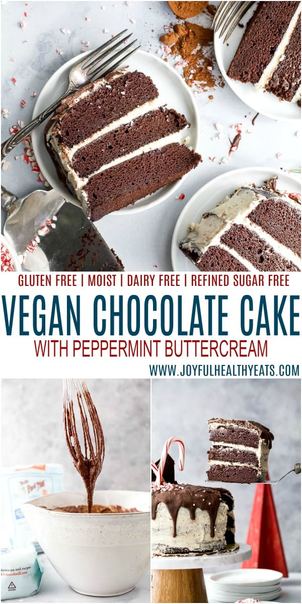 pinterest image for vegan chocolate cake with peppermint buttercream