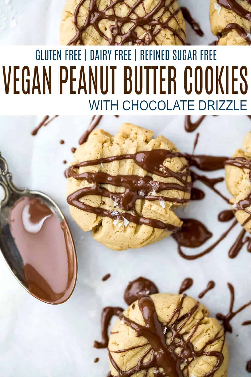 pinterest image for vegan peanut butter cookie with chocolate drizzle