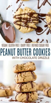 pinterest image for vegan peanut butter cookies with chocolate drizzle