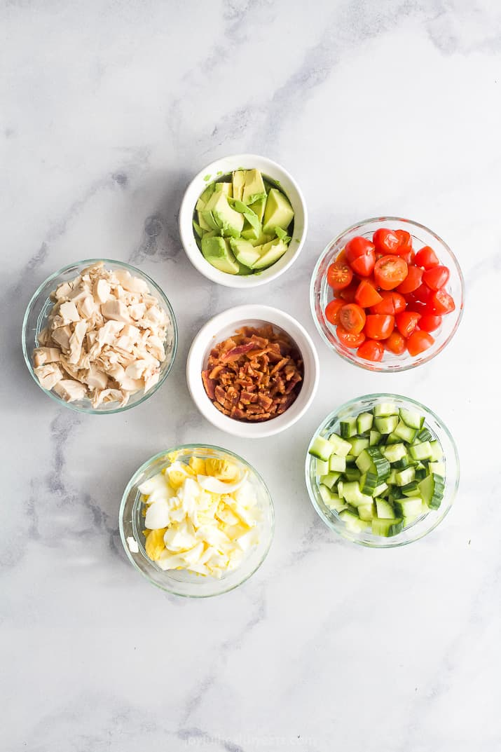 ingredients for mason jar chicken cobb salad