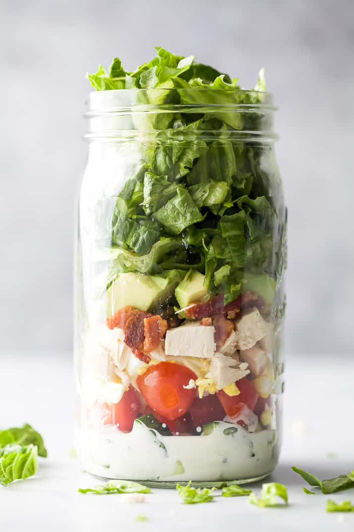 epic mason jar chicken cobb salad with light ranch dressing