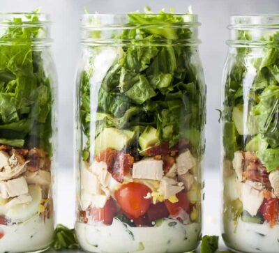 epic mason jar cobb salad recipe with ranch dressing