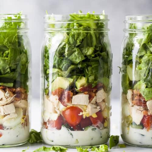 epic mason jar cobb salad recipe with ranch dressing