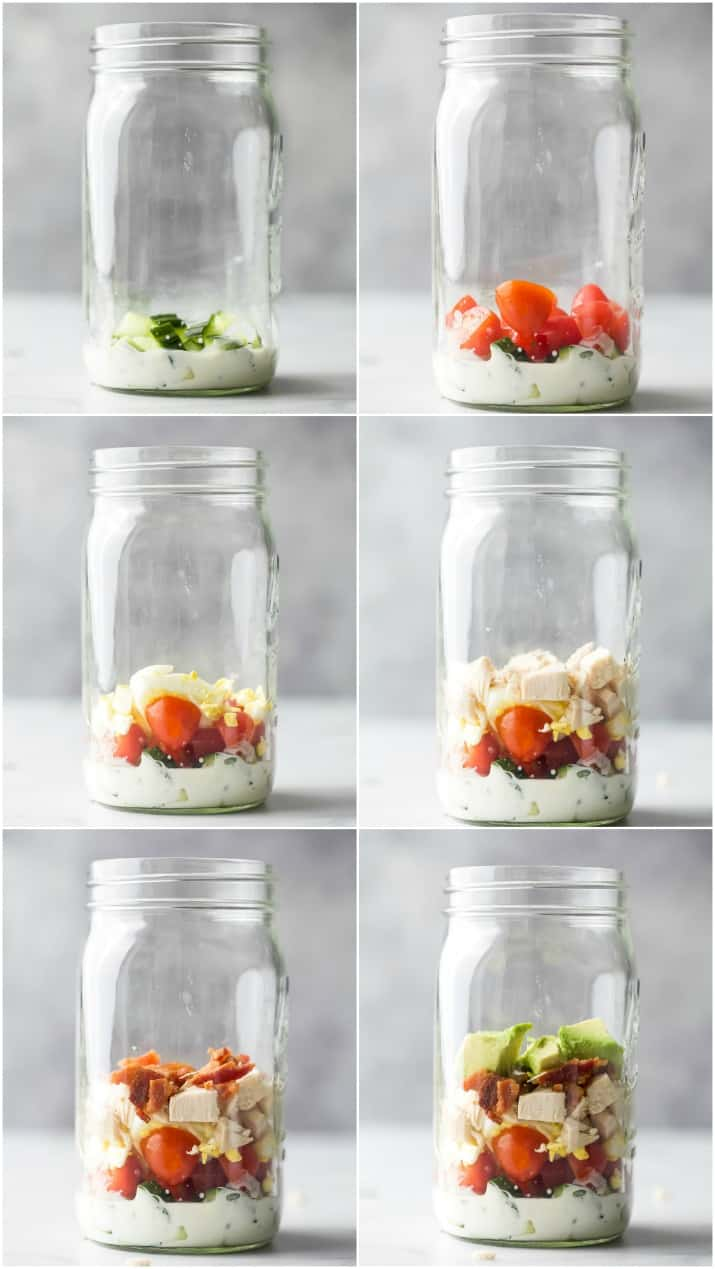 step by step of how to make a mason jar cobb salad recipe