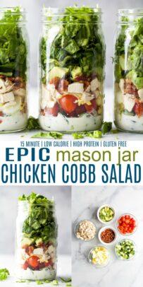 pinterest image for epic mason jar cobb salad with ranch dressing