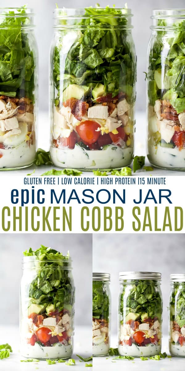 pinterest image for epic mason jar chicken cobb salad with ranch dressing