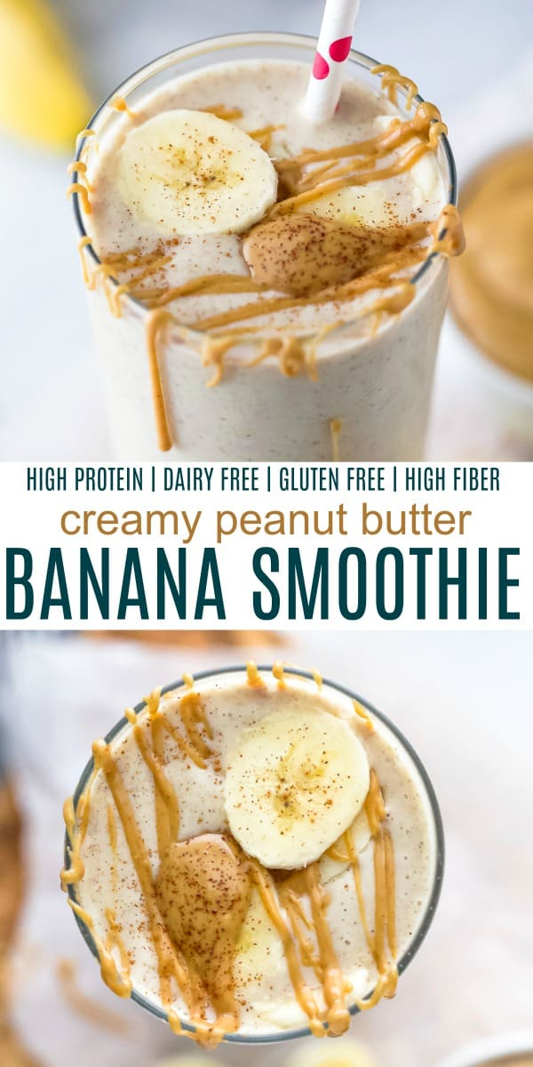 pinterest image for creamy peanut butter banana smoothie recipe