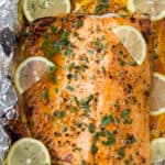 overhead photo of easy 20 minute garlic butter salmon in foil recipe