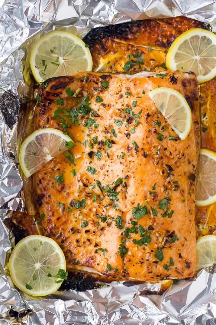 cooked salmon in foil with lemon slices