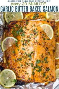 pinterest image for easy 20 minute garlic butter baked salmon in foil