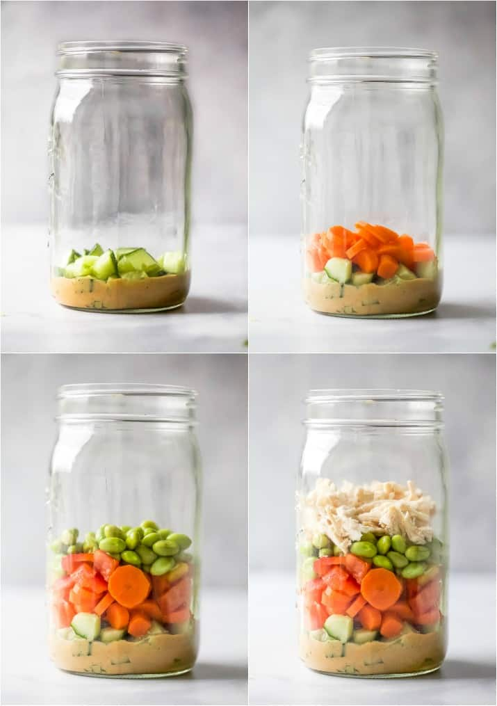 how to make the best thai chicken mason jar salad with peanut dressing