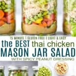 pinterest image for thai chicken mason jar salad recipe with peanut dressing