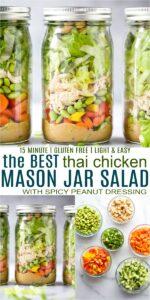 pinterest image for thai chicken mason jar salad recipe with peanut dressing