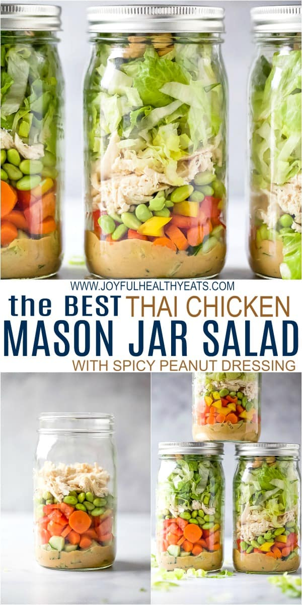 pinterest image for best thai chicken mason jar salad recipe with peanut dressing