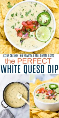 pinterest image for the perfect creamy white queso dip recipe